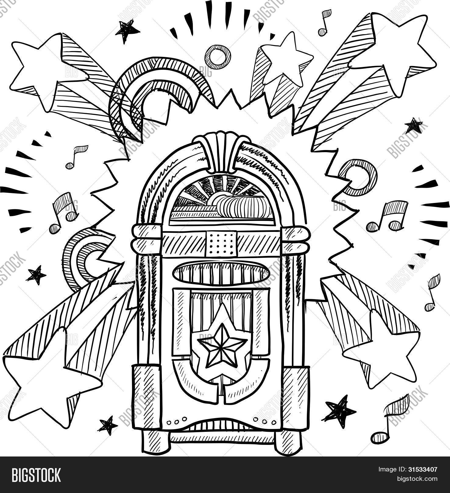 Jukebox Sketch Stock Vector Amp Stock Photos