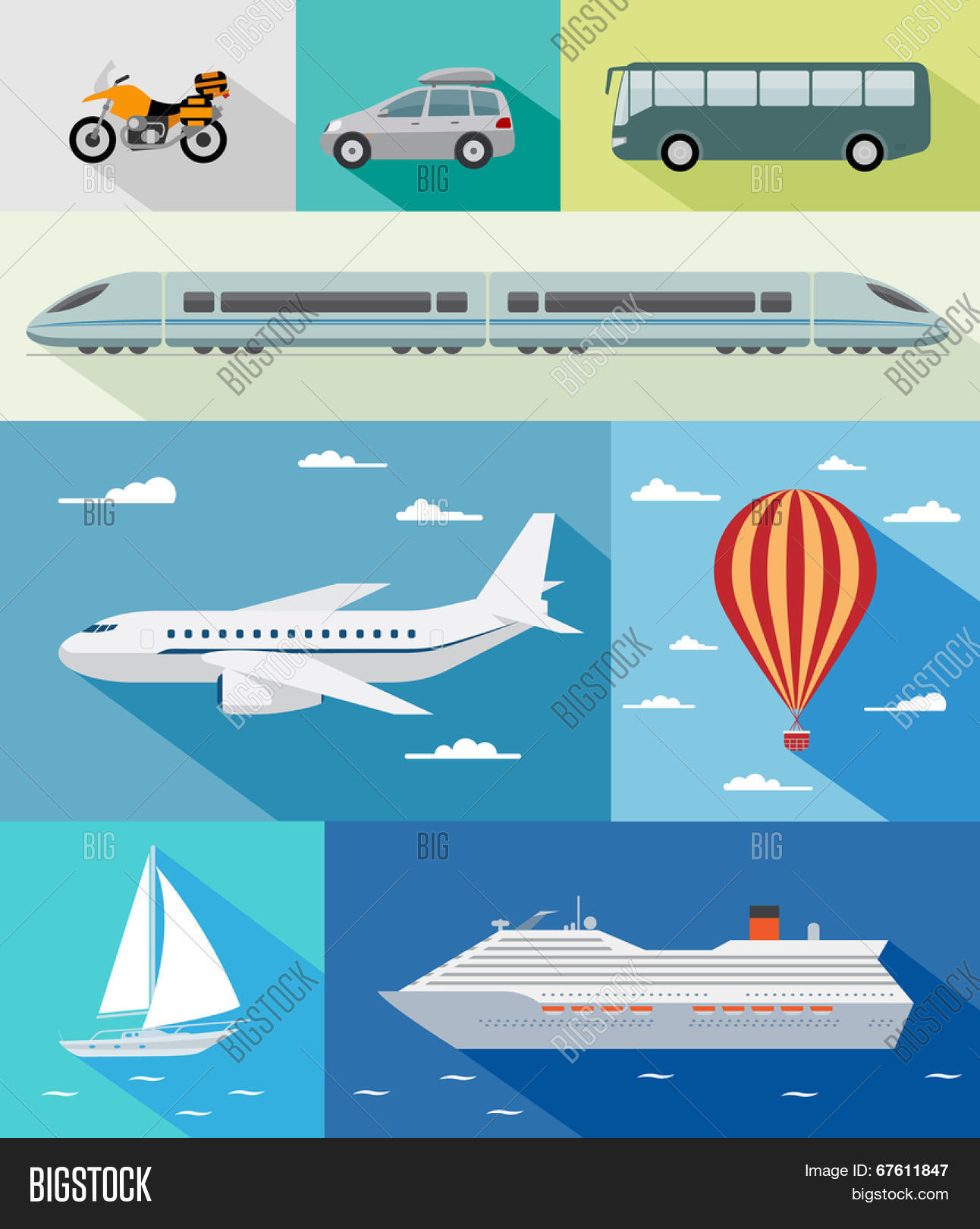 Various Types Transport Car Bus Vector Amp Photo