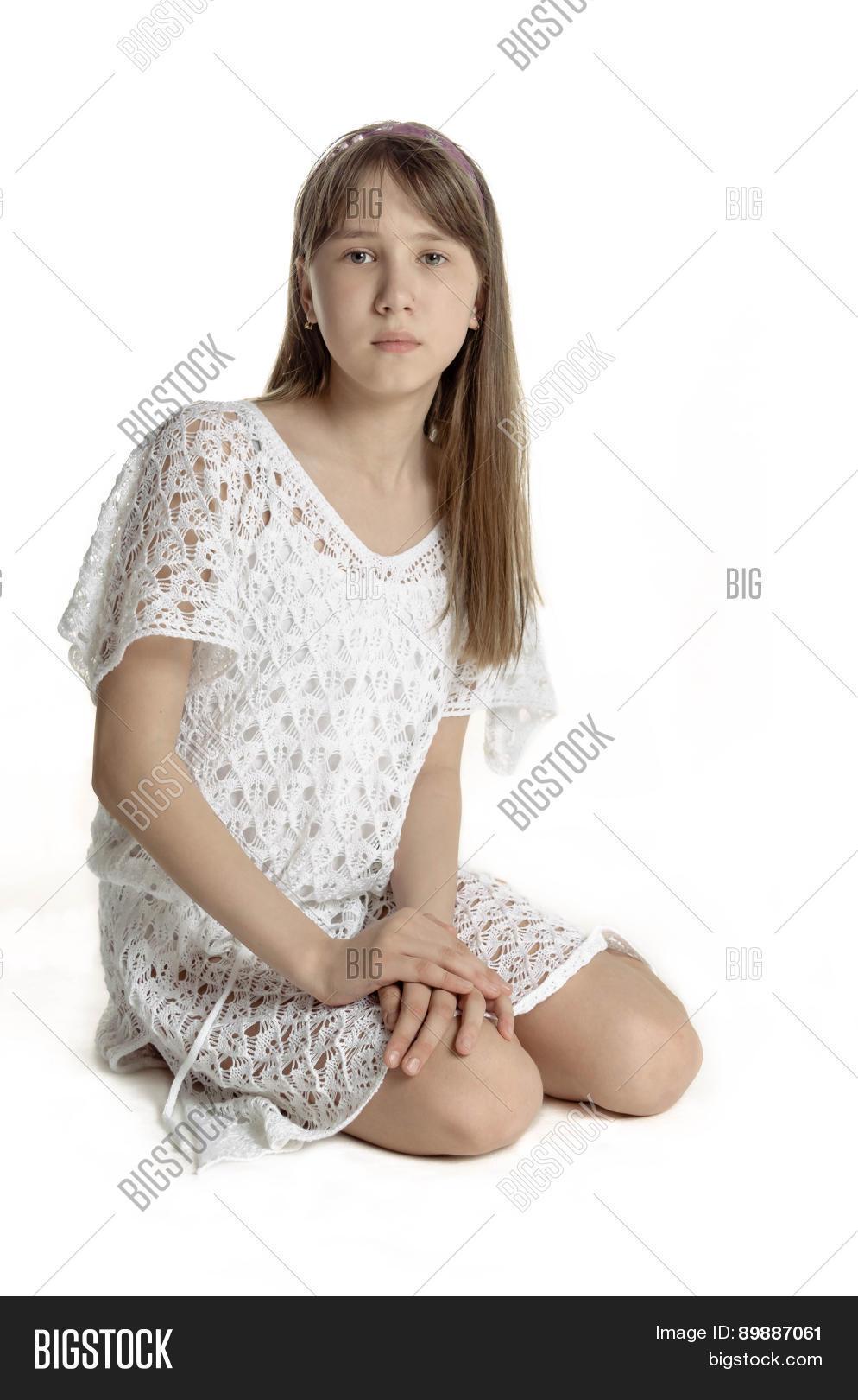 Beautiful teen girl in white transparent dress, isolated ... on Beautiful Teen Girl  id=90763