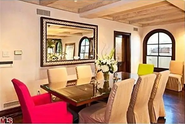 Formal dining area—chairs for a pop of color