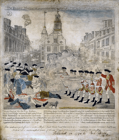 "Paul Revere's sensationalized depiction of the ""Boston Massacre"" in 1770 rallied anti-British sentiment among the revolutionaries five years before the start of the war."