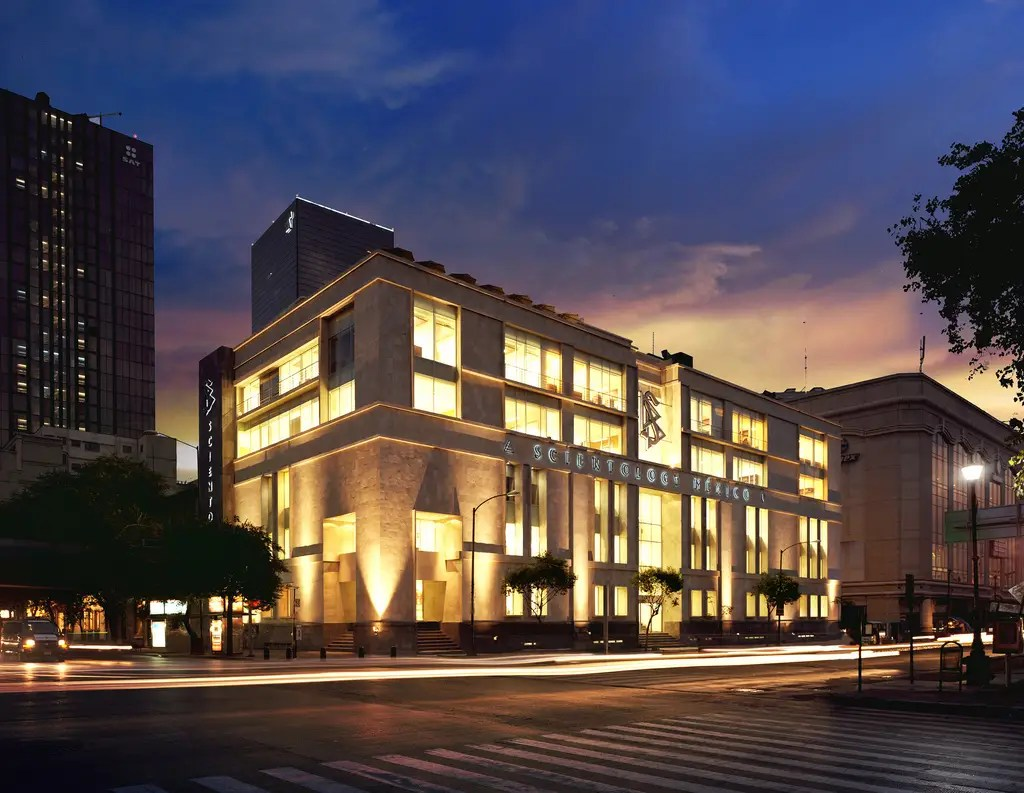The 'Scientology Ideal Organization for Mexico' stands adjacent to Mexico's Fine Art Palace and the neighboring National Bank, Mexico's Supreme Court and the National Palace. It's six stories and 55,000 square feet.