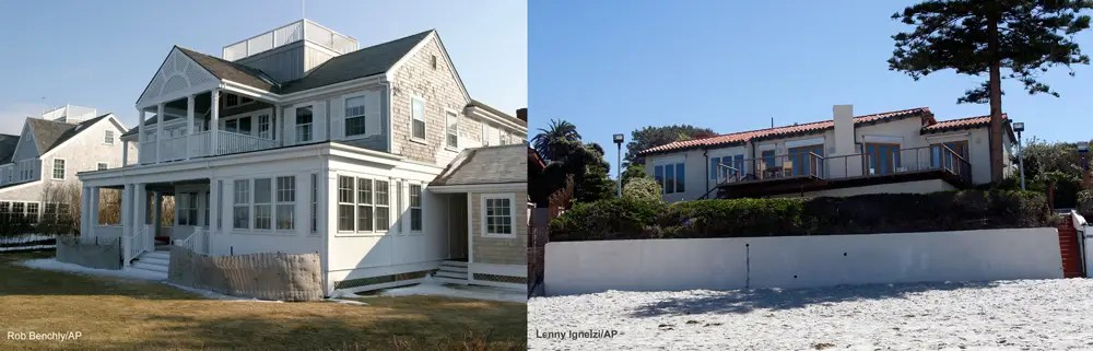 Both have had problems explaining their wealth – especially their multiple homes, such as Kerry's $9 million Nantucket beach house (left) and Romney's $12 million La Jolla beach house (right).