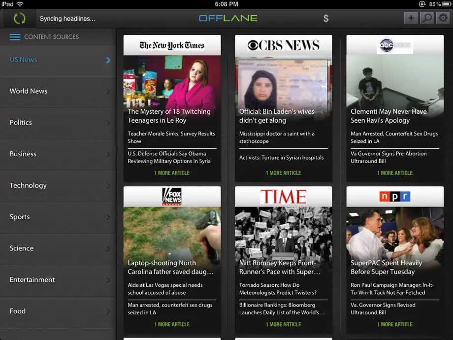 Offlane makes it possible to stay up to date with news while you're offline.