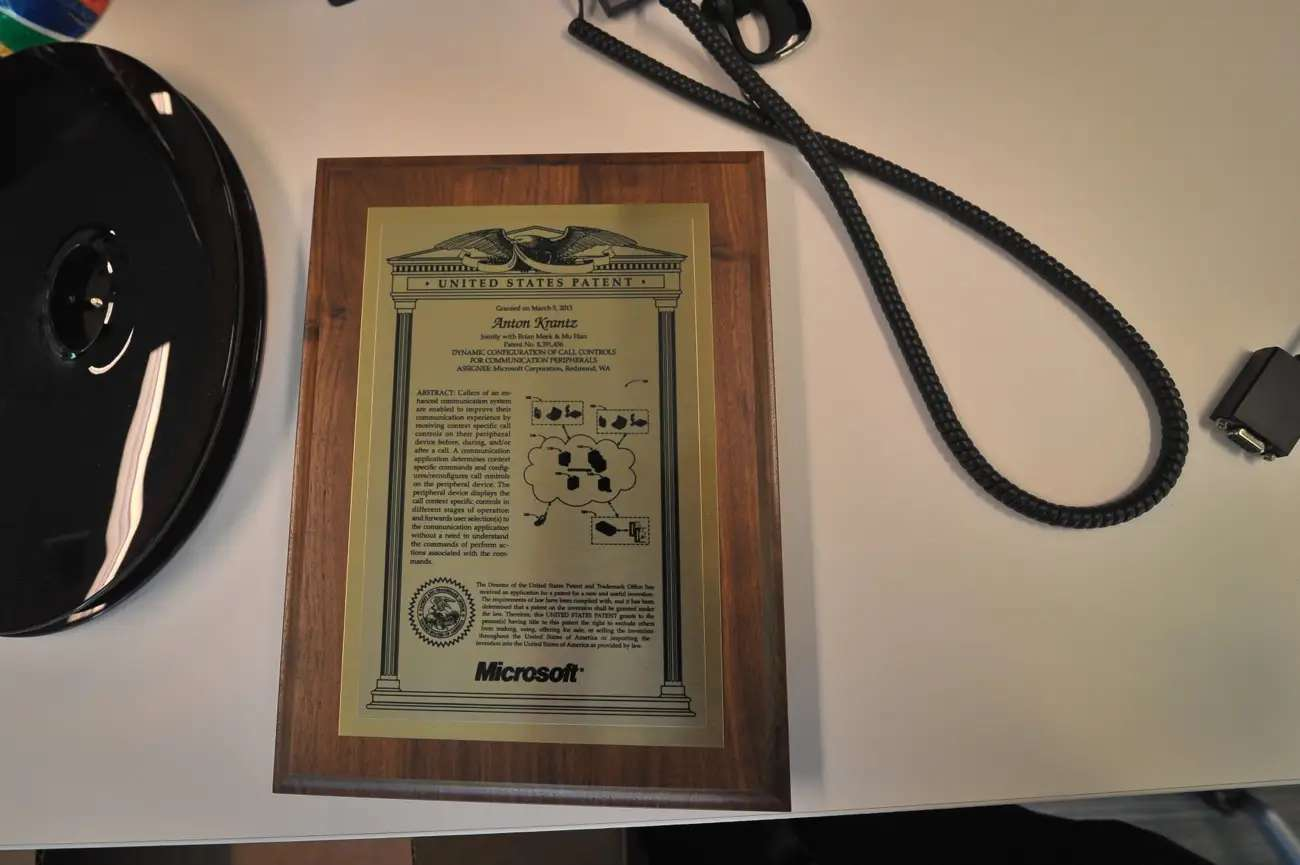 This guy had a plaque for a patent on his desk. Pretty neat!