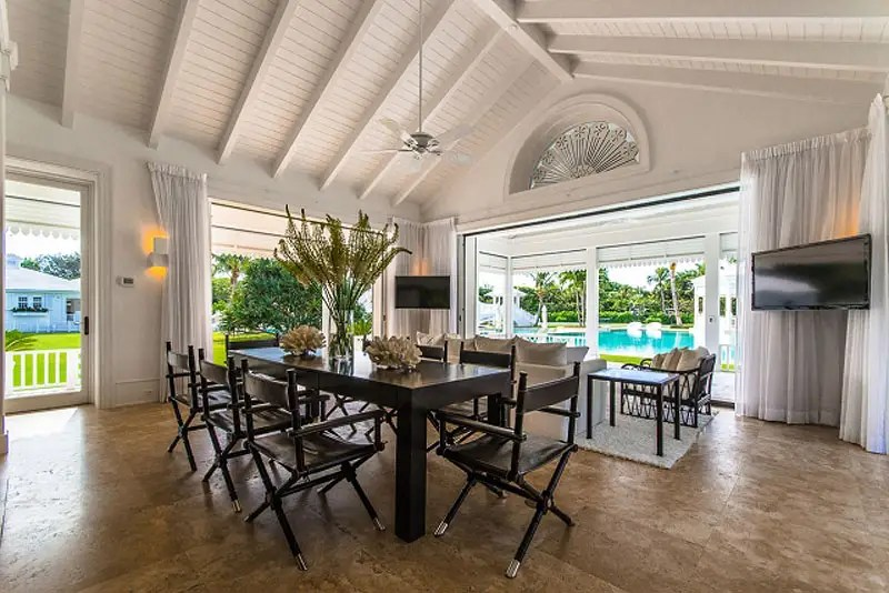 Or relax in the shade of the pool house after your dip in the pool.