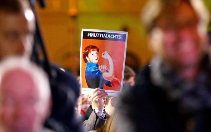 Angela Merkel German election placard