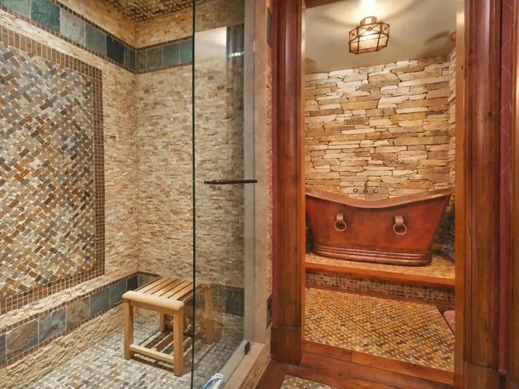 As well as a total of seven bathrooms. This one has its own special copper bath.