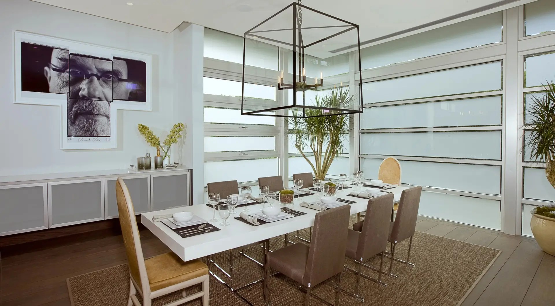 The casual dining room seats eight with slatted windows that open onto the outside.