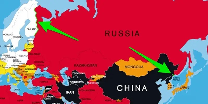 russia separates north korea and finland