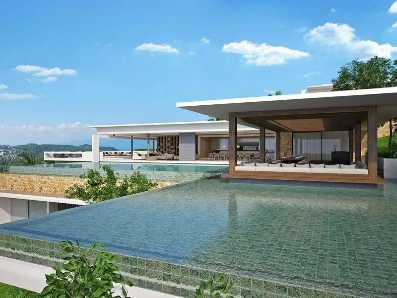 In Surat Thani, Thailand, $5 million buys a 19,461-square-foot oceanfront, hillside mansion with outdoor dining pavilion, large infinity pool, and its own secluded beach.