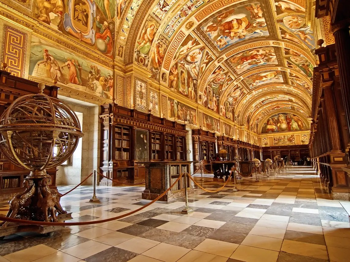 Part of the historical residence of the King of Spain, the Royal Library of the El Escorial Monastery in Madrid is a UNESCO World Heritage site. The amazing  frescoes painted on the library's ceilings depict the seven forms of liberal arts: rhetoric, dialectic, music, grammar, arithmetic, geometry, and astronomy.