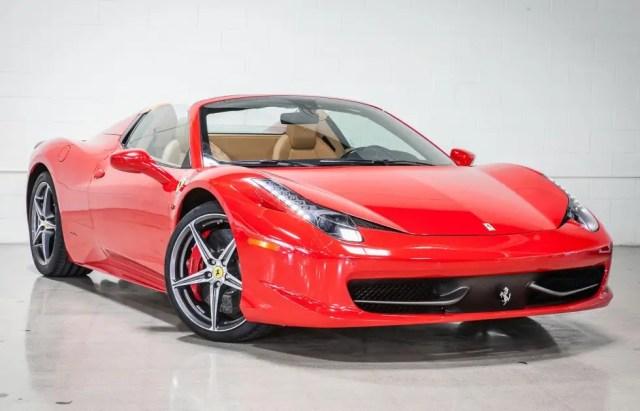 9. Fusion has two red 2012 Ferrari 458 Italia convertibles for sale.
