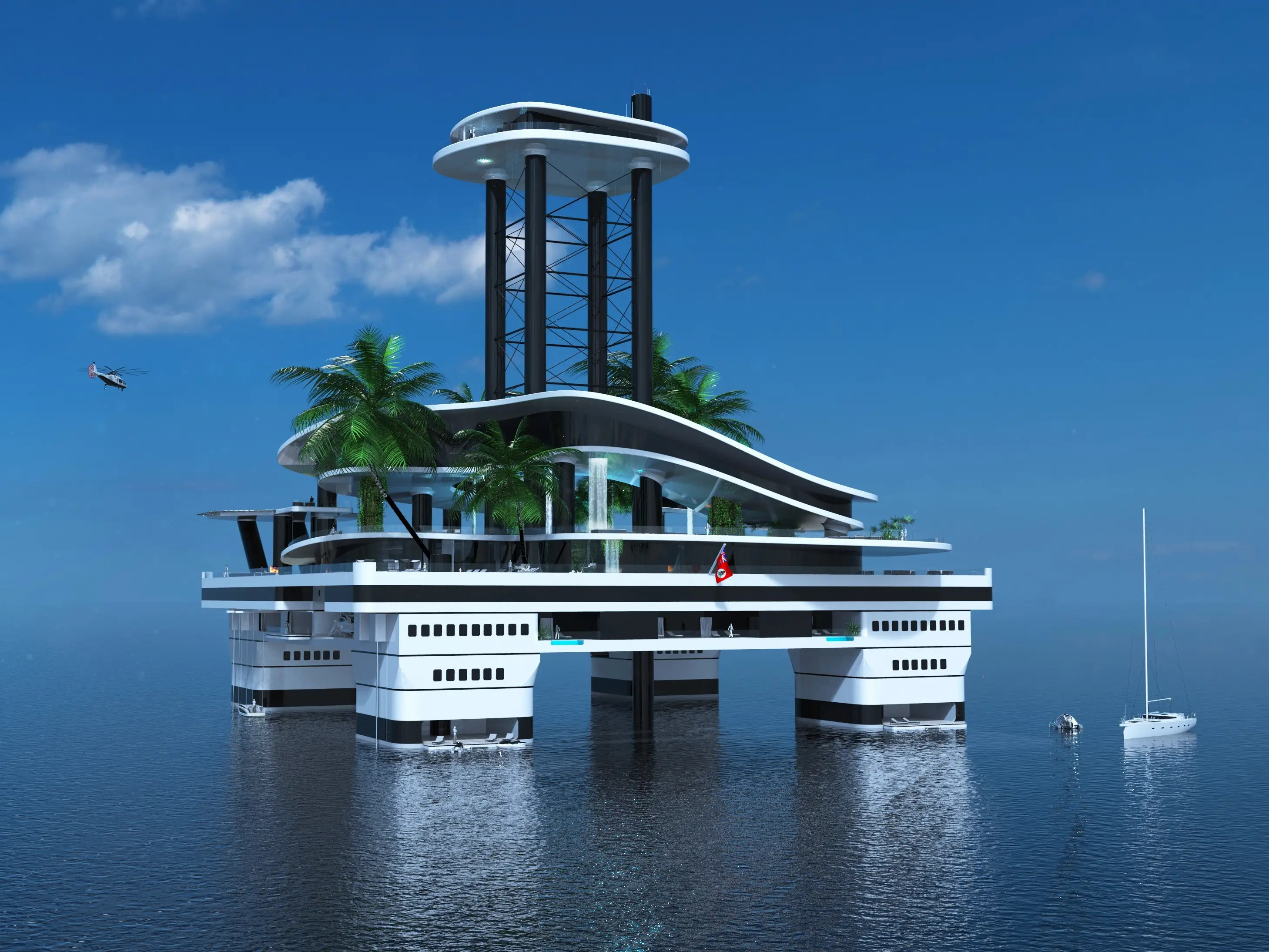 Designed with infinity pools and private balconies, the VIP and guest deck is under the beach deck.