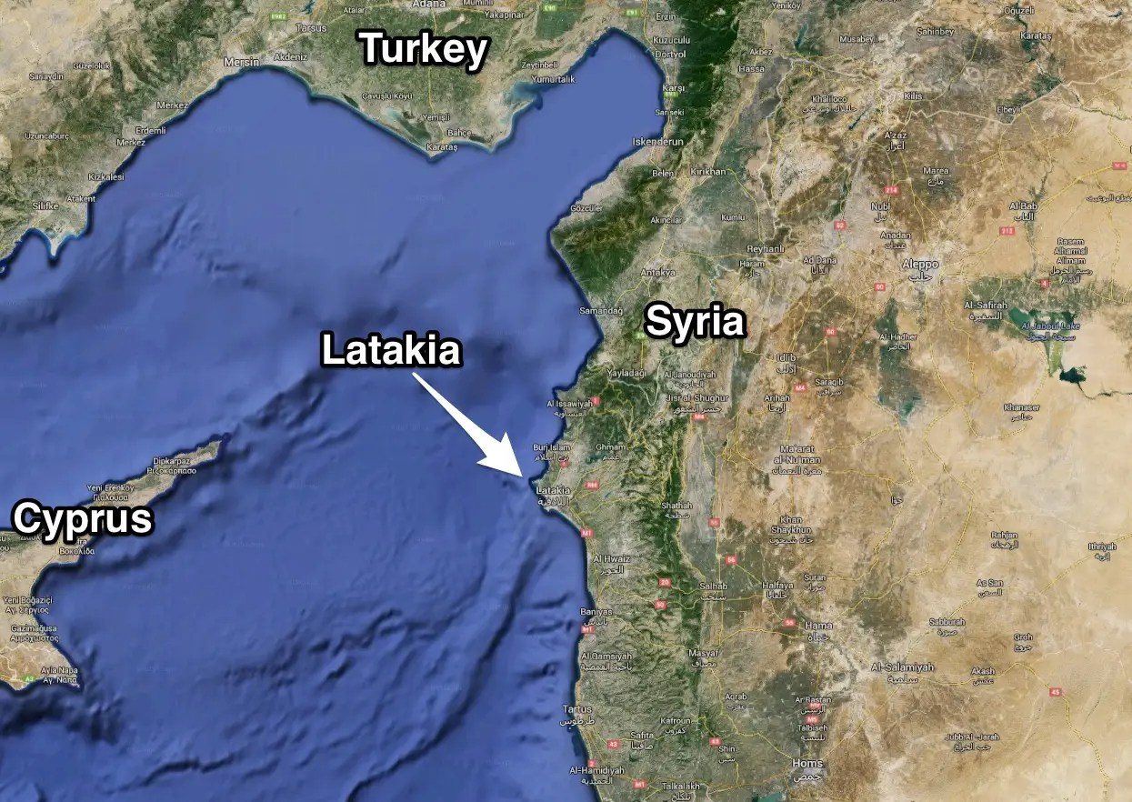 map syria latakia