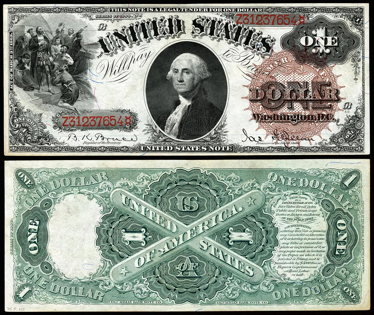 Face On The First Us Dollar Bill