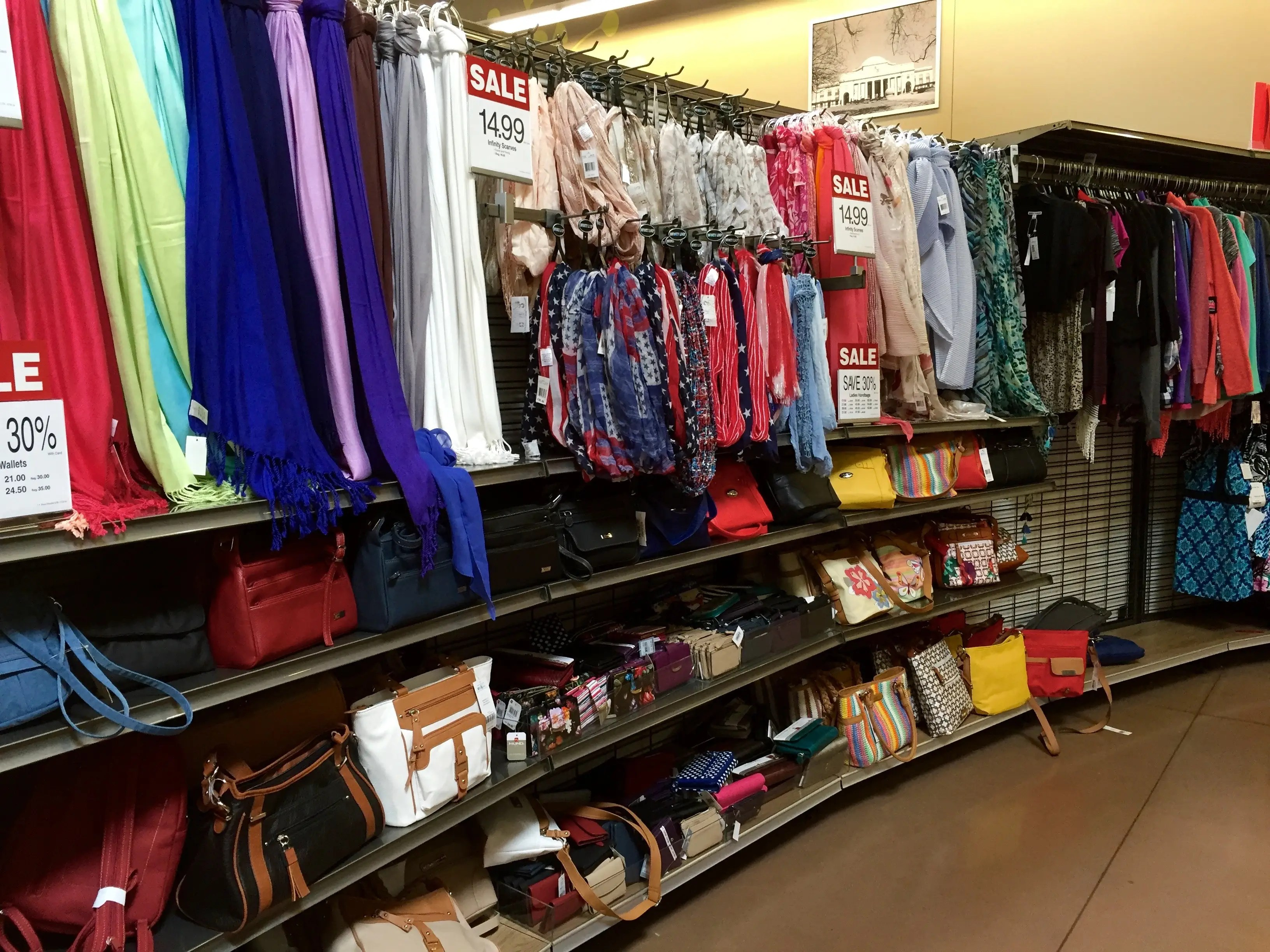 There's also an aisle devoted to accessories like scarves and handbags.