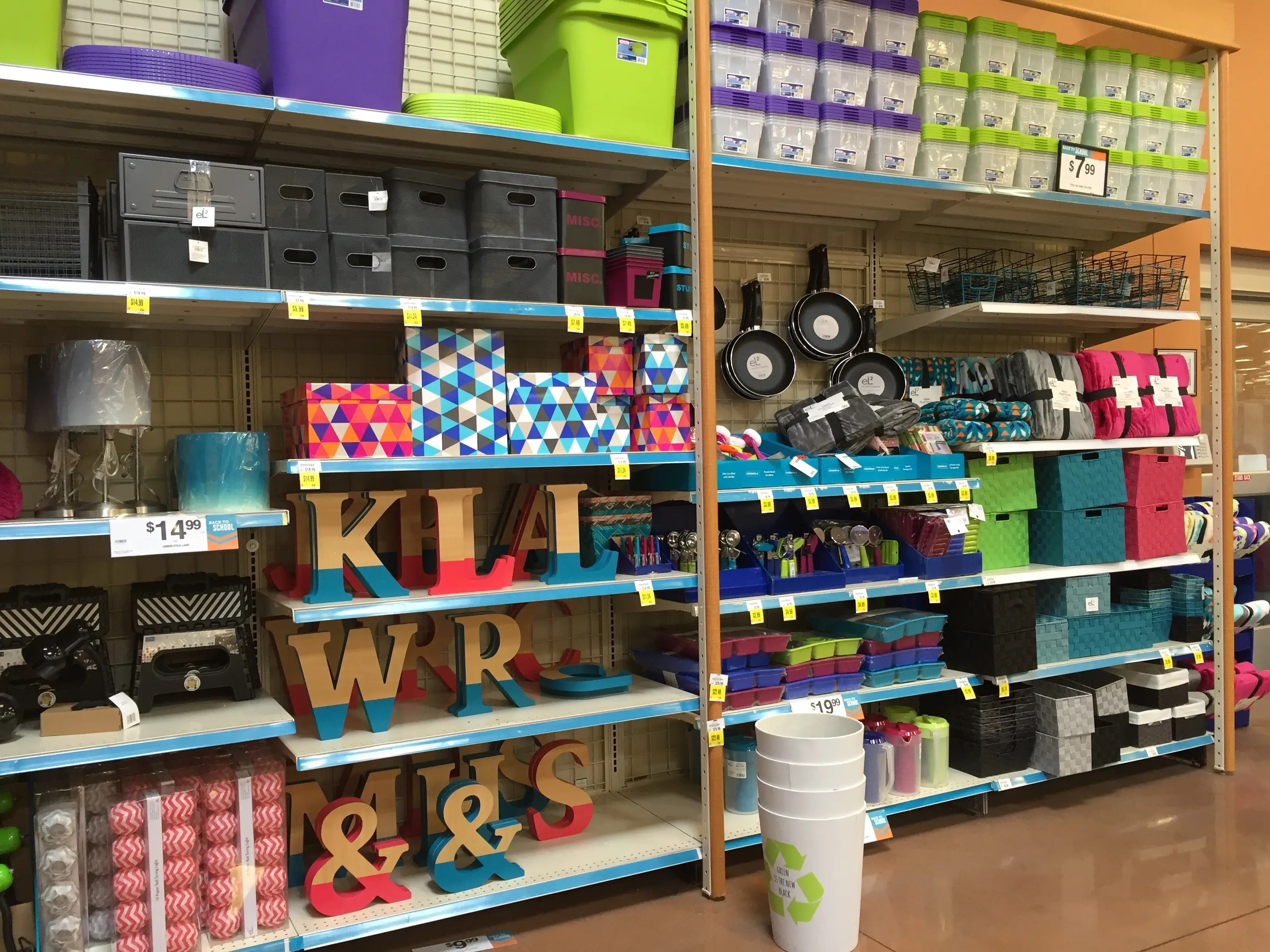 A few aisles are stocked with college-dorm decorations.