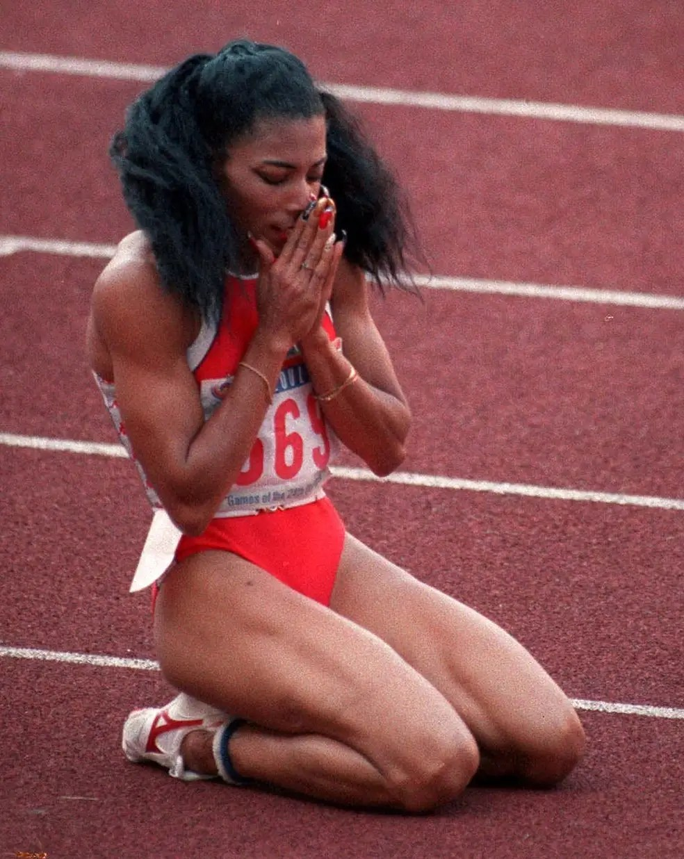 Seoul, 1988: Florence Griffith Joyner fell to her knees after smashing the world record for the fastest time to complete the 200-metre Olympic final. Joyner died just 10 years later in 1998 of an apparent heart seizure. She was 38.