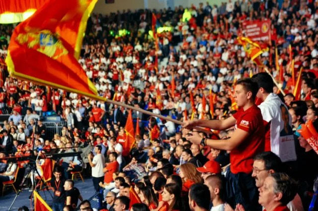 Supporters of Montenegro Prime Minister Milo Djukanovic gather for an election rally in Podgorica, on October 14, 2016