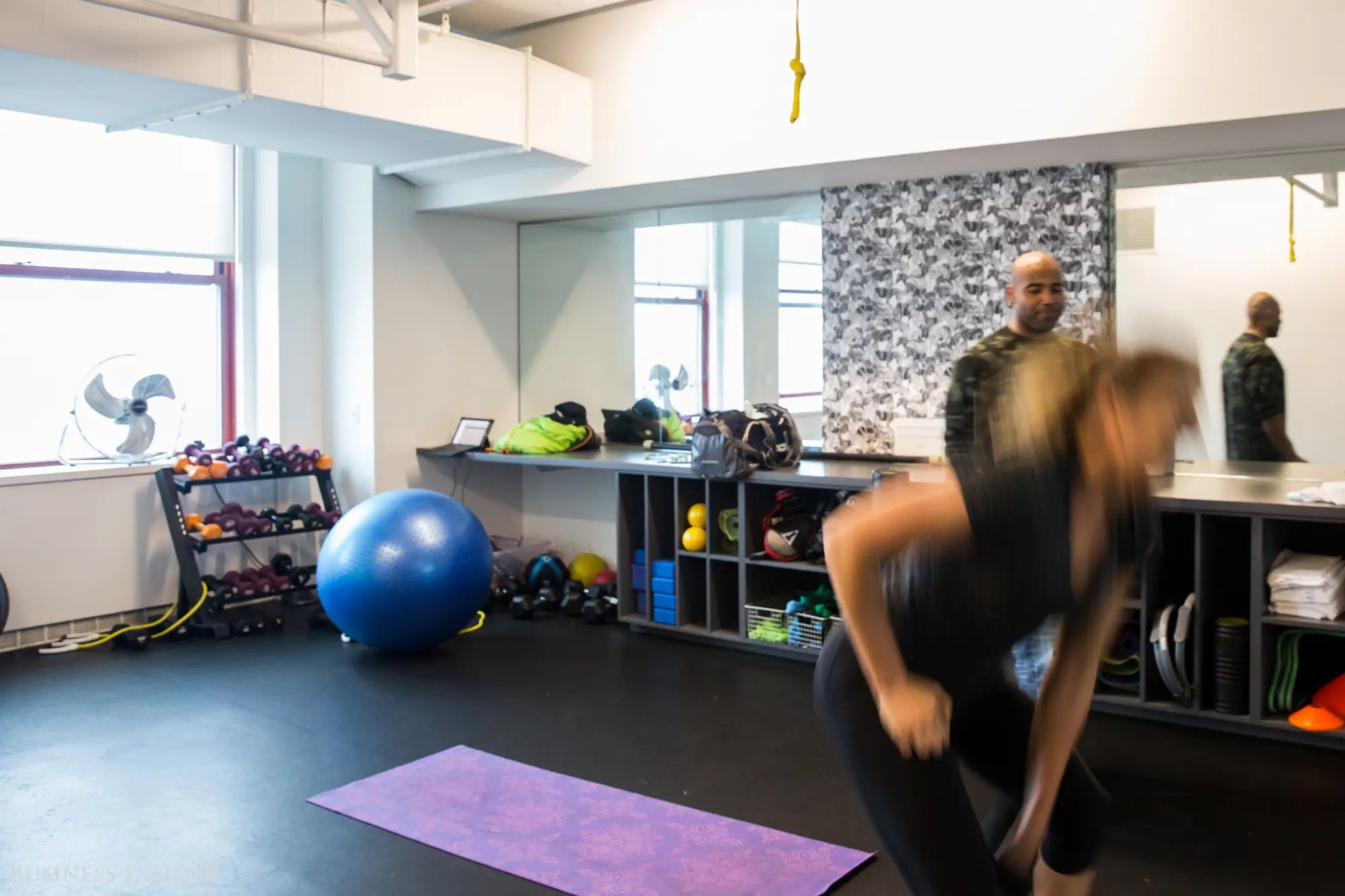One of our very last stops was the gym. Employees don't have to leave the building to exercise. The office gym offers boot camp, barre, yoga, and group fitness classes. According to Kniffin, the perks are all about rewarding hard work and providing employees with a comfortable environment.