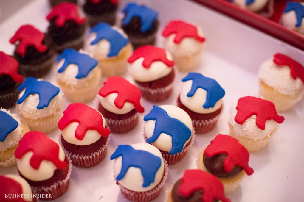 Even the munchies provided — miniature cupcakes with donkey and elephant insignias — reminded attendees of the more consequential election going on in the background.