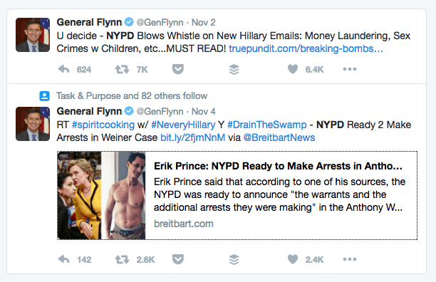 Image result for photo of flynn tweets