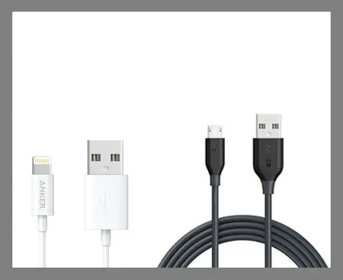 Lightning and Micro USB cables