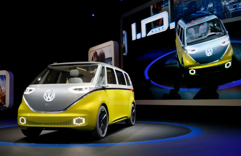 4. Volkswagen unveiled a high-tech version of its classic microbus. The electric, revamped Hippiemobile can drive 270 miles on a single charge.