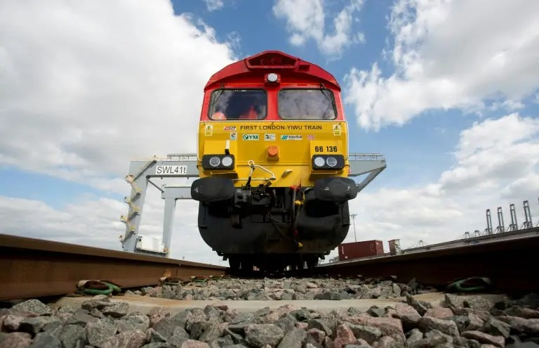 The first freight train to link China directly to the UK arrived in the eastern Chinese city of Yiwu Saturday after covering over 12,000-kilometres (7,500 miles), making it the second-longest route in the world