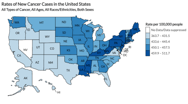 This map looks at the rate of new cancer cases by state per 100,000 people. This is specifically looking at 2013, which is the most recent year available. The darker the color, the higher the rate.