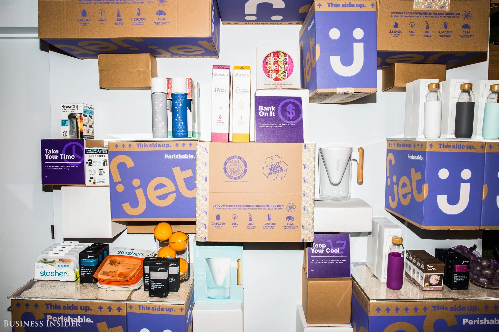 There's even a floor-to-ceiling installation of Jet boxes, which brings its delivery experience to life.