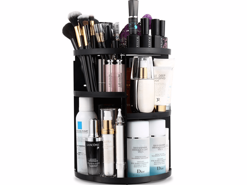 A makeup organizer to declutter the bathroom sink counter.