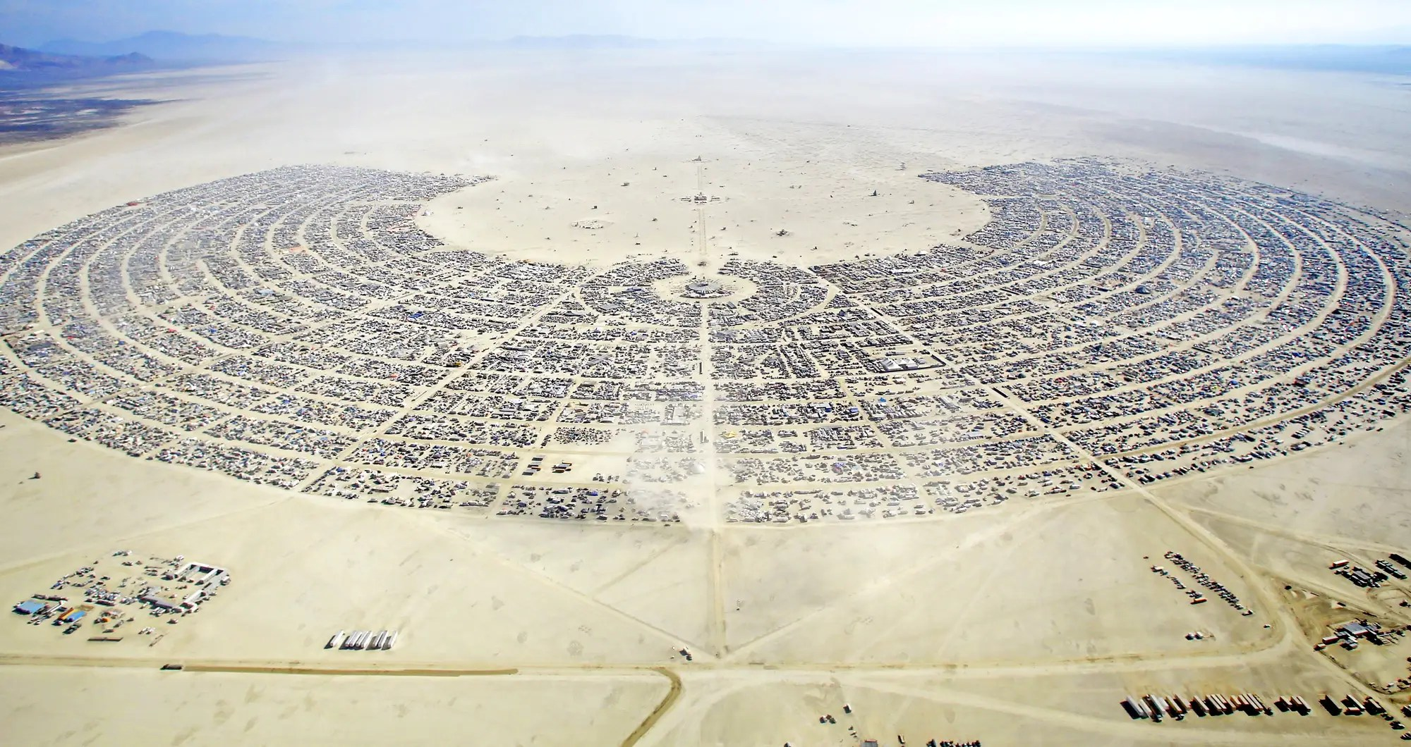 burning man festival black rock city aerial view