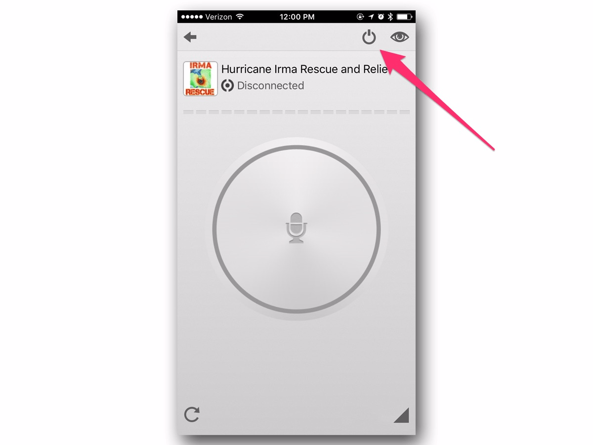 If you don't want to listen to the audio transmissions, you can turn them off by tapping the power button. You'll still be a member of the channel, but the sound will be muted.