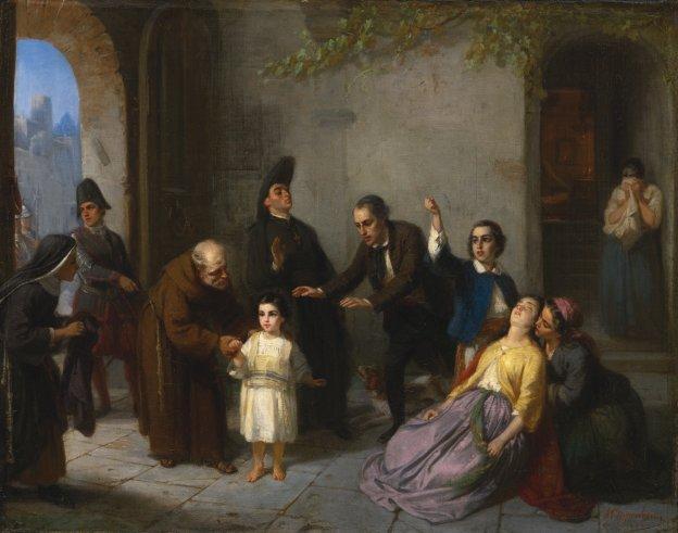 El cuadro de Moritz Oppenheim sobre el secuestro de Edgardo Mortara pertenece a la colección del Museo Judío de Fráncfort.