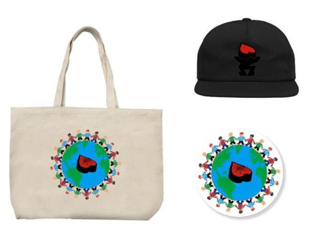 1. Bag tote ($30) / 2. Cap ($3) / 3. Sticker ($5).