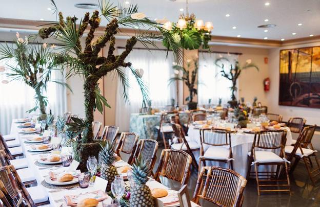 Detalles del banquete de la boda de Carla y David.