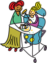 Royalty Free Clipart Image of a Woman With a Disabled Child