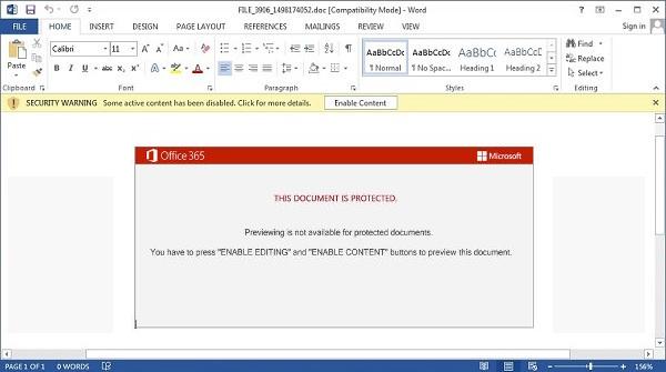Mensaje que aparece al ejecutar el archivo .doc