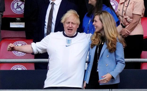 Boris Johnson celebrates England's triumph over Denmark in the second European Championship semi-final.