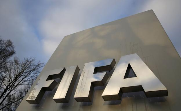 FIFA logo at the FIFA headquarters in Zurich.