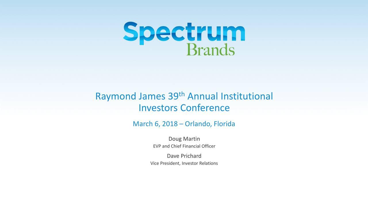 Spectrum Brands (SPB) Presents At Raymond James 39th ...