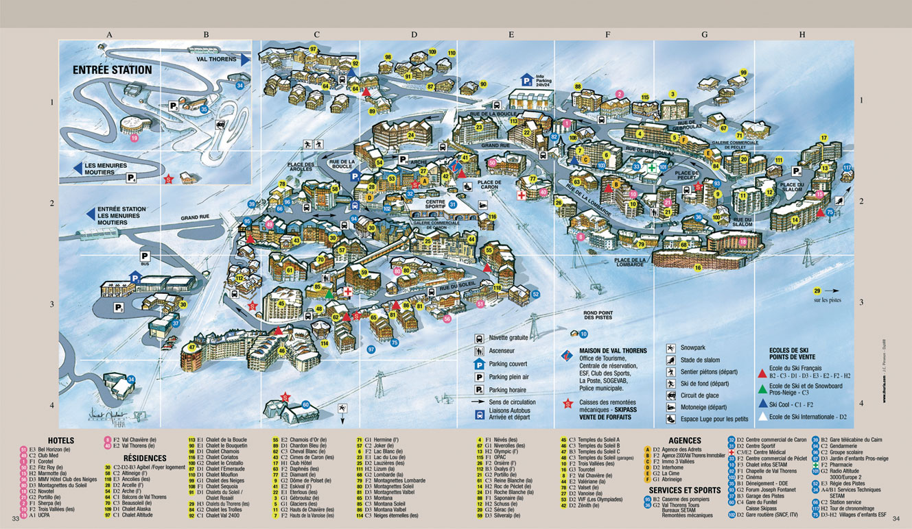 Maps Of Val Thorens Ski Resort In France SNO