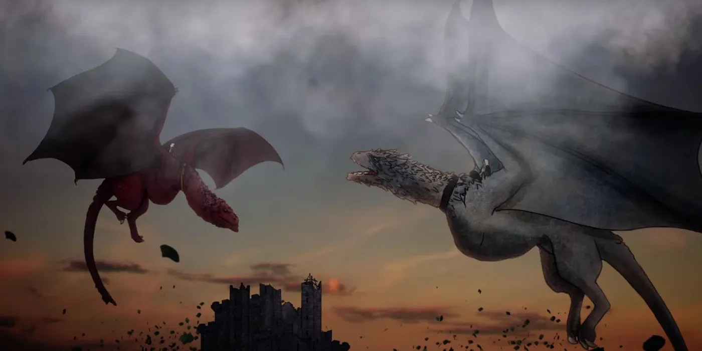 Two dragons fighting in mid-air
