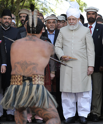 SPECIAL VISIT: His Holiness Hazrat Mirza Masroor Ahmad, spiritual leader of the worldwide Ahmaddiyya Muslim Community, pictured at Turangawaewae Marae, will open the new mosque today.  bb Photo: BRUCE MERCERhs/hsFAIRFAX MEDI
