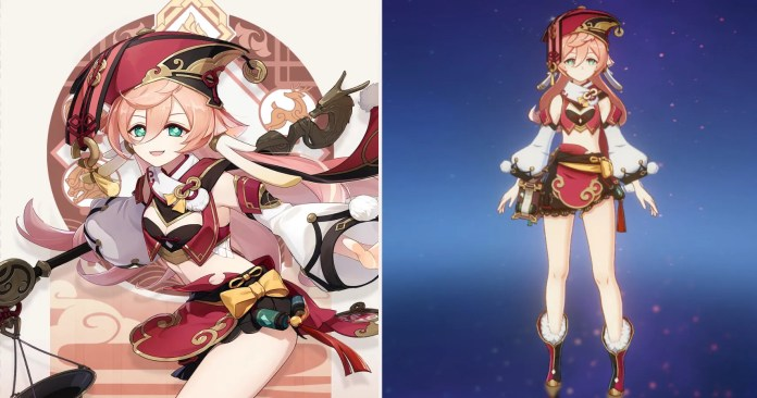 Yanfeis art card side by side with her in game menu appearance