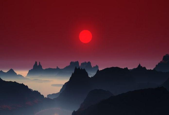 Cảnh hoàng hôn buông trên các dãy núi ở Nhật Bản nhìn hệtnhư tranh thủy mặc.