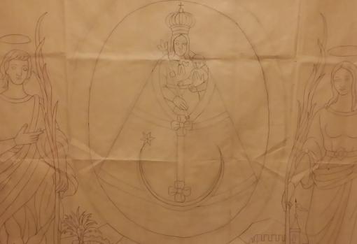 Esbozo para un tapiz de la Virgen de la Fuensanta, entre San Acisclo y Santa Victoria, patronos de Córdoba