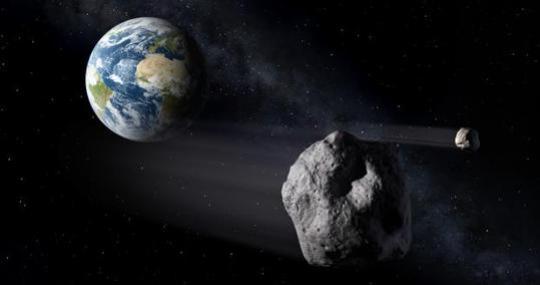 Recreación en primer plano del sistema binario Didymos con la Tierra de fondo